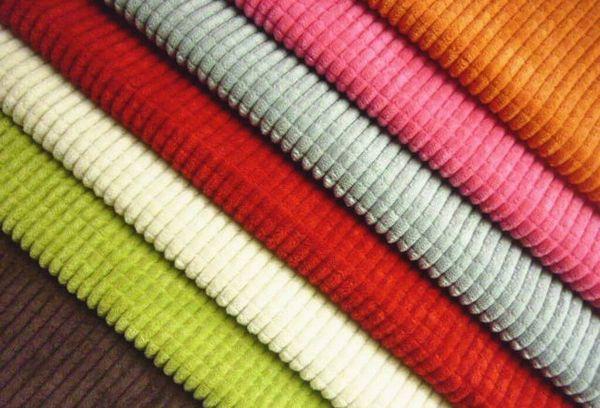 Разноцветная ткань вельвет