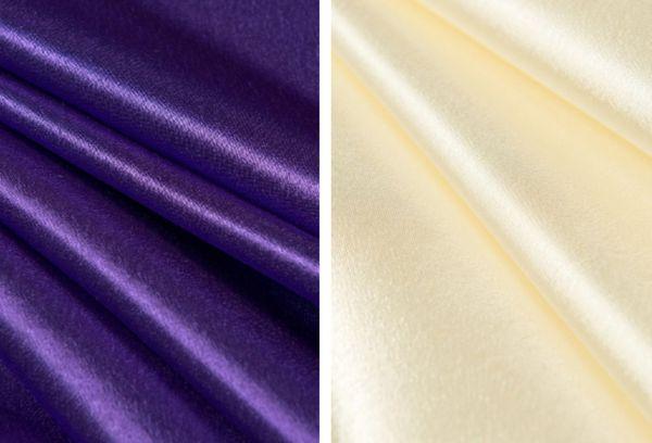 Креп-сатин фиолетовый и молочный