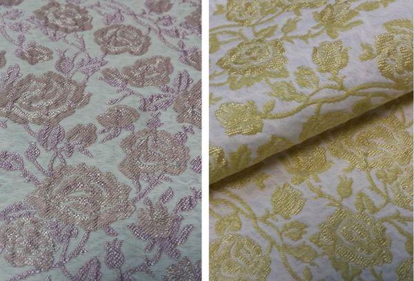 Жаккардовая ткань серого и розового цвета с узорами