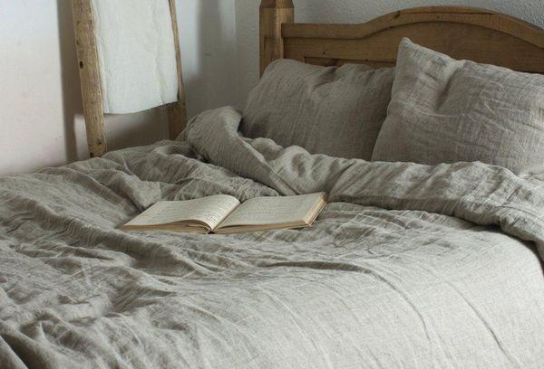 Льняное постельное белье серое
