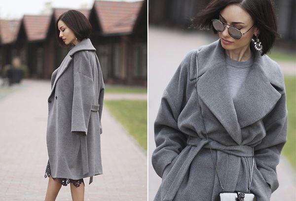 Драповое пальто на девушке