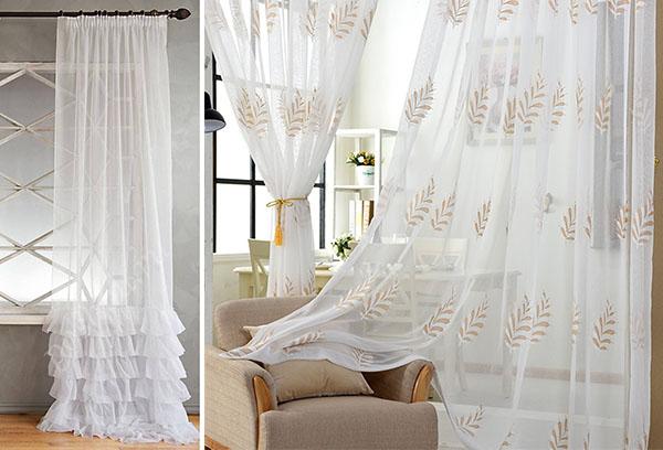 Красивые шторы из вуали в интерьере