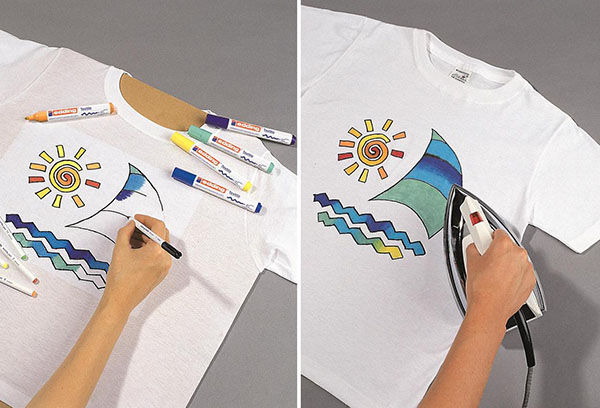 Роспись футболки маркерами для ткани