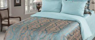 Жаккардовое сатиновое постельное белье бирюзового цвета