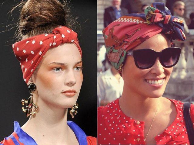 шарф на голове в форме восьмёрки