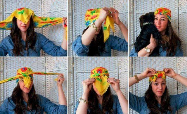 повязка шарфа на голову