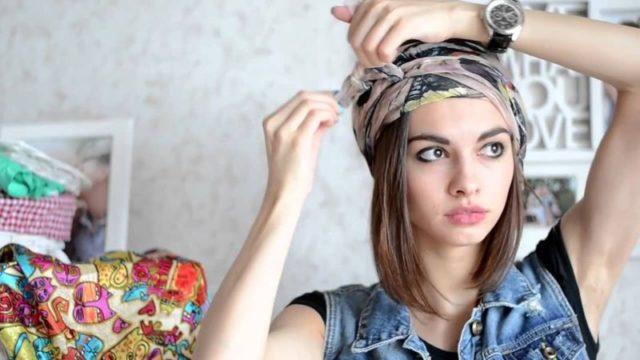 Повязка летнего шарфа на голову