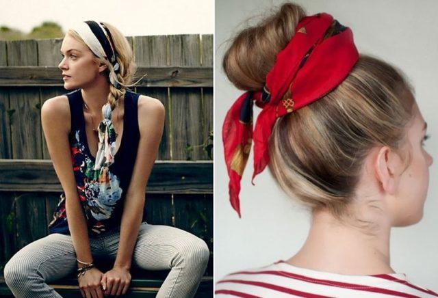 Собранные волосы обернутые шарфом