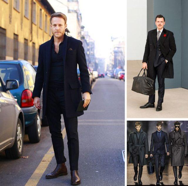 Черный костюм с черными ботинками