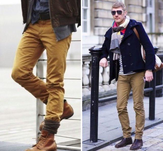 Коричневые узкие брюки с ботинками челси