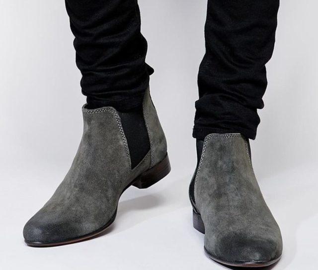 Мужские темно-серые замшевые ботинки челси