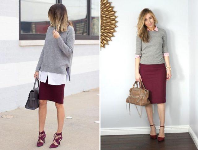 Бордовая юбка и белая рубашка