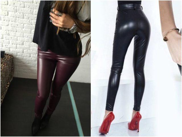 Черные и бордовые кожаные лосины