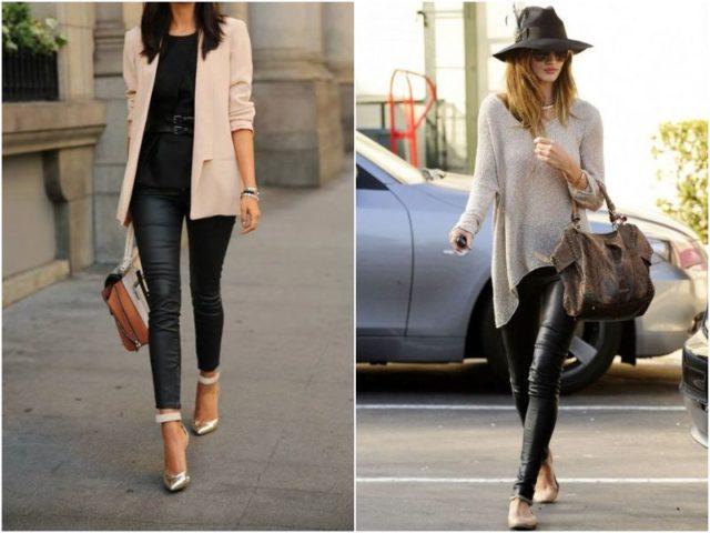 Кожаные леггинсы с пиджаком