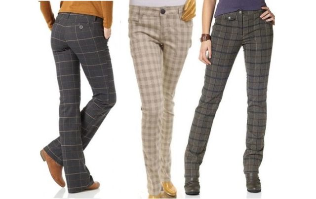 Разноцветные клетчатые штаны