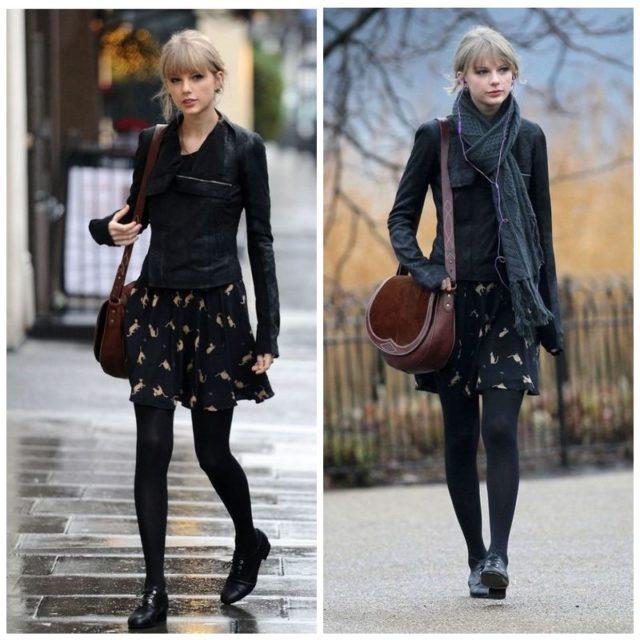 Девушка в черных кожаных оксфордах