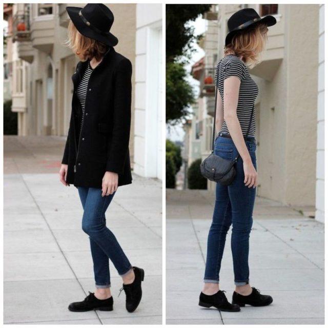 Модные черные женские туфли