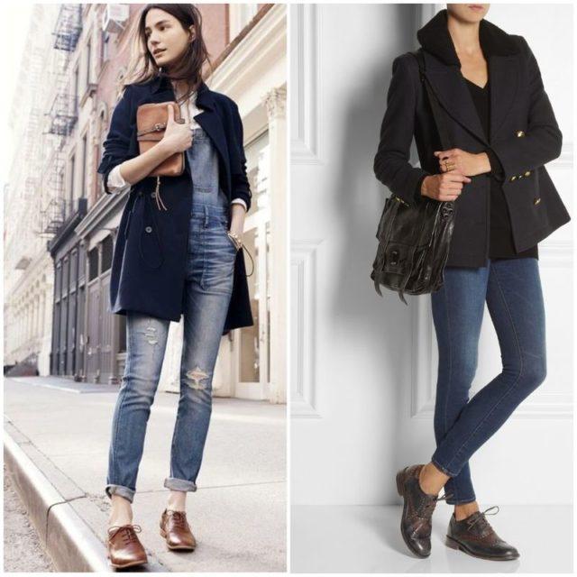 женские оксфорды с джинсами