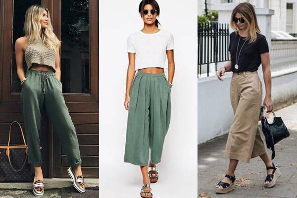 Образы с широкими брюками и летней обувью