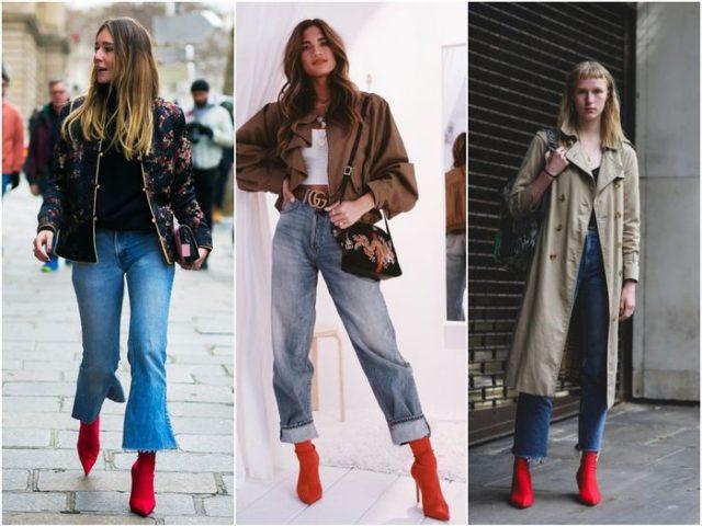 Красные сапоги-чулки с джинсами