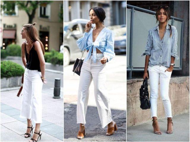 Белые укороченные брюки
