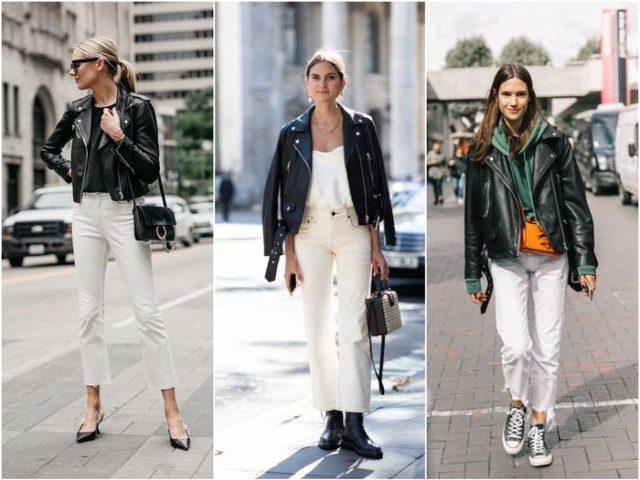 Белые джинсы под черный верх
