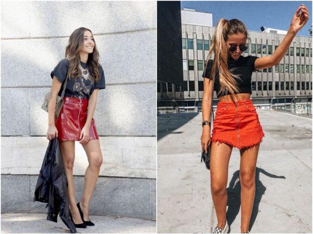 Короткие юбки красные