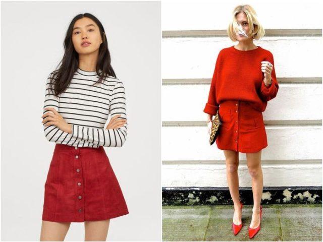 Красная джинсовая и виниловая / кожаная юбка