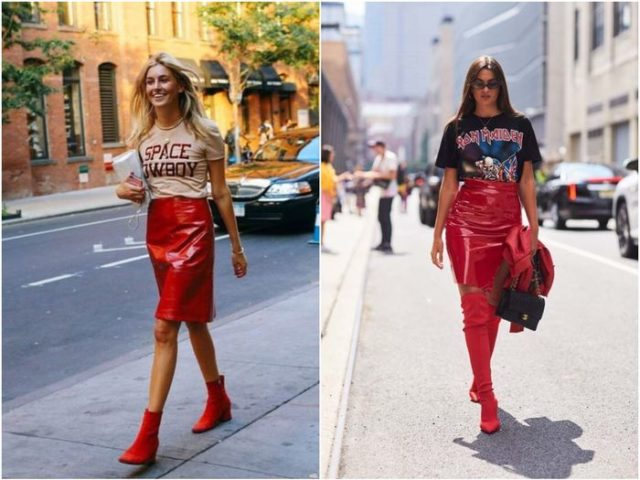 Короткие юбки красные лаковые