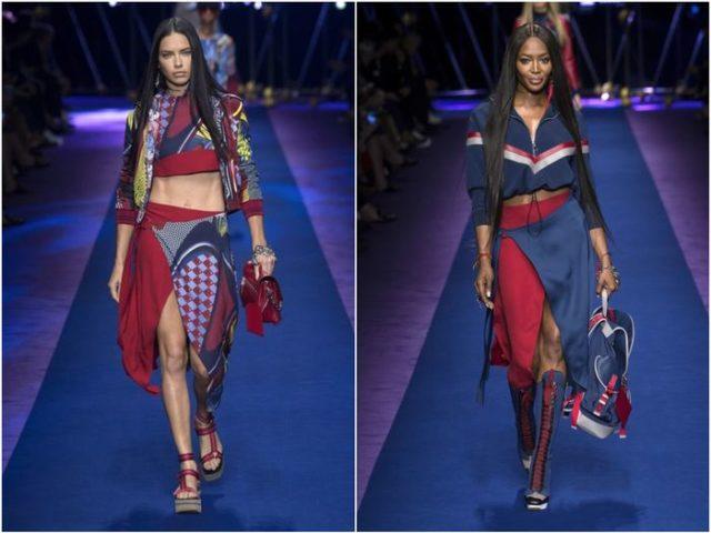 Красная асимметричная юбка