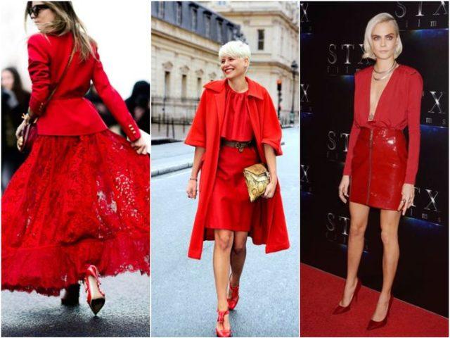 Красные модные юбки