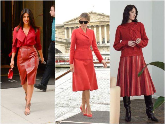 Красные кожаные юбки