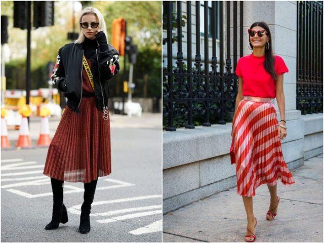 Красная юбка плиссе 2