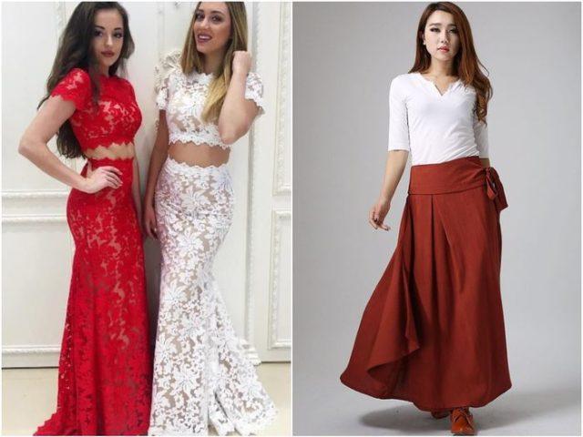 Длинные юбки красного цвета