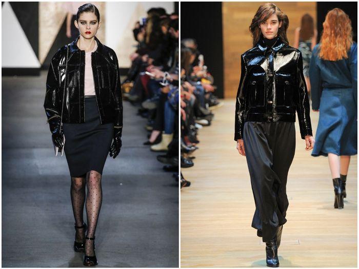 Лакированный черные женские куртки