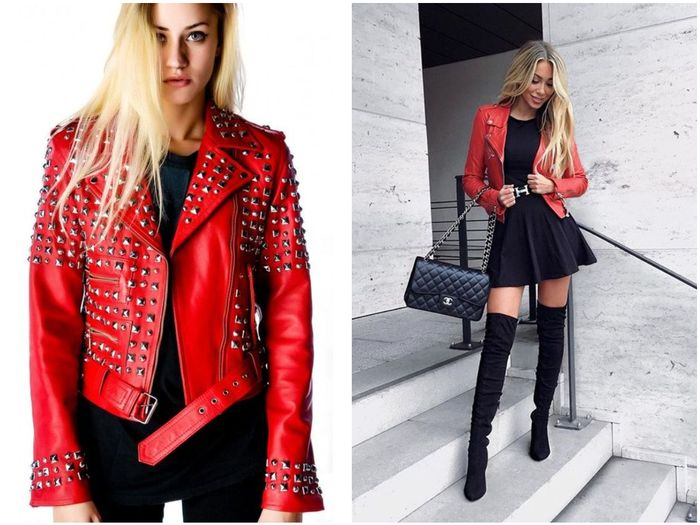Кожаная куртка красная