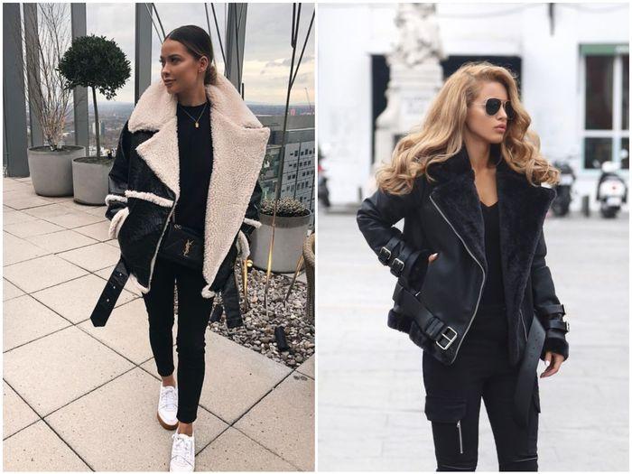 Зимние куртки из кожи с мехом