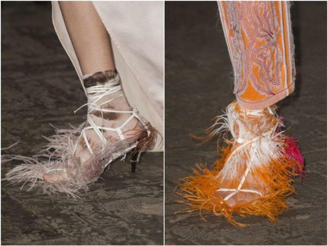 Женская обувь с перьями