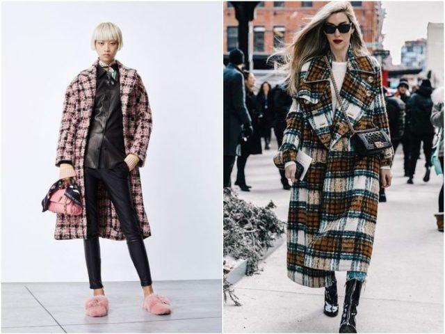 пёстрые вариации классического пальто в клетку