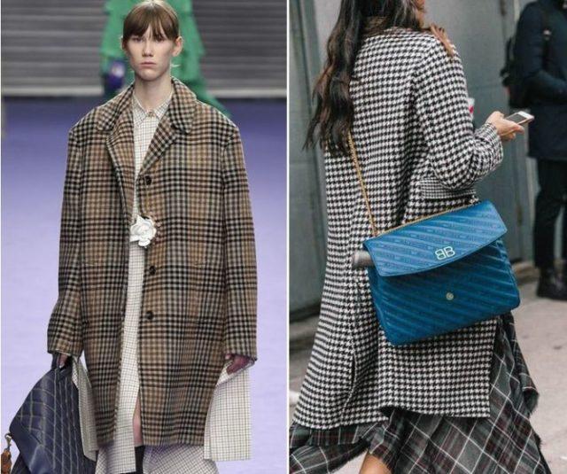 Женское клетчатое пальто