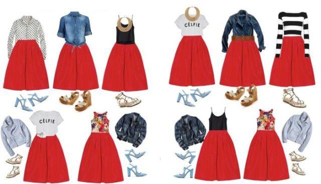 Разные сочетания одежды с красной юбкой