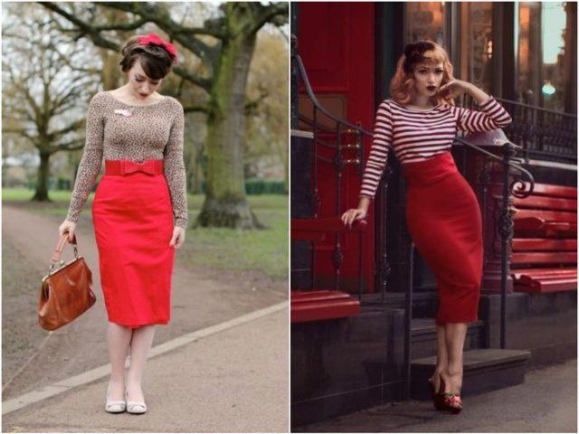 Красная юбка карандаш 5