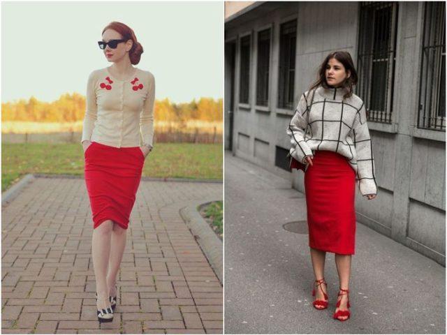 Красная юбка карандаш 4
