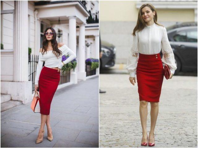 Красная юбка карандаш 3