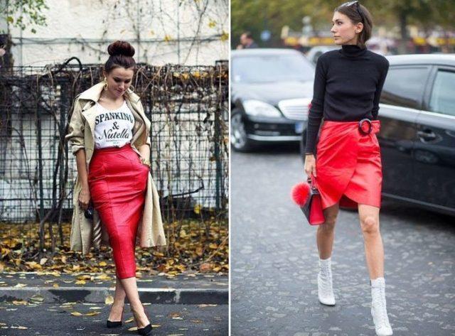 Красная юбка с запахом или разрезом