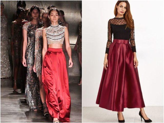Шёлковая атласная красная юбка