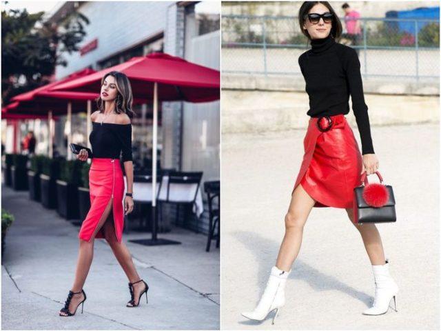 Красная юбка с разрезом
