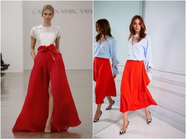 Красная юбка-штаны