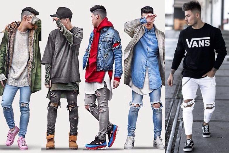 Сочетание джинсов и кроссовок в 2019 году