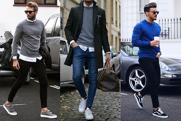 Мужские луки с кроссовками, рубашками и джемперами